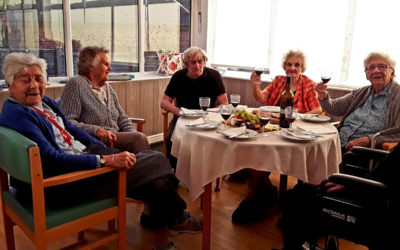 Group cheese and wine tasting at The Old Downs Residential Care Home