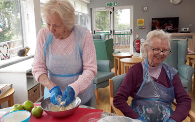 Making apple crumble at The Old Downs Residential Care Home
