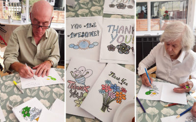 Cards of gratitude at The Old Downs Residential Care Home