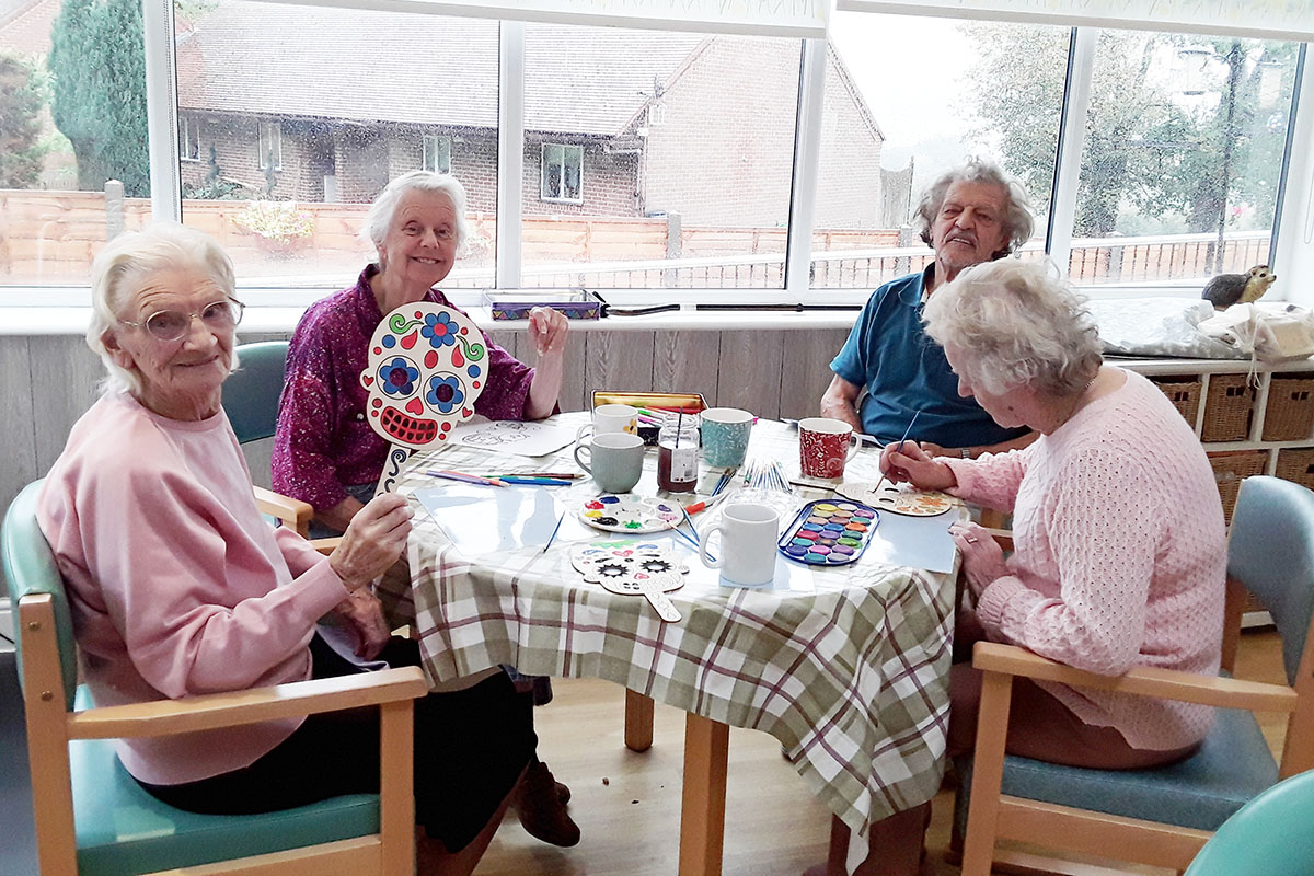 Making Halloween masks at The Old Downs Residential Care Home
