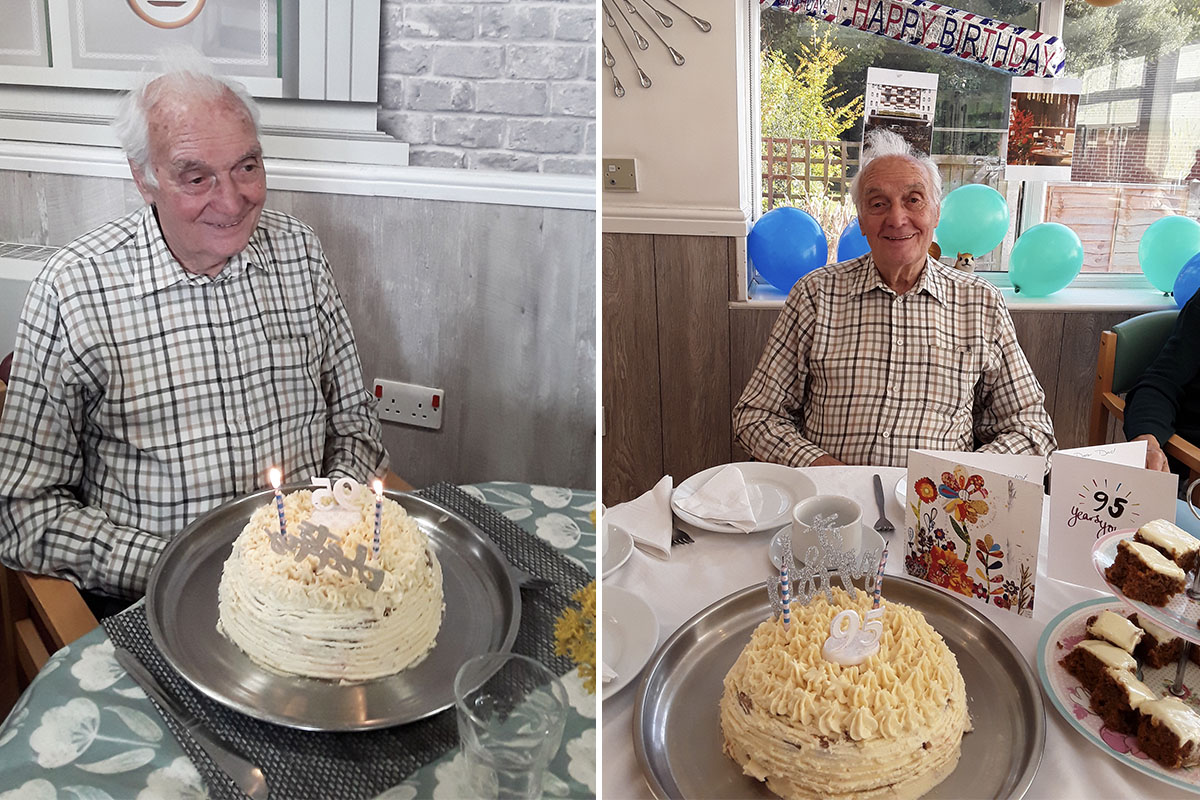 John at The Old Downs Residential Care Home receives birthday wishes from the Dorchester