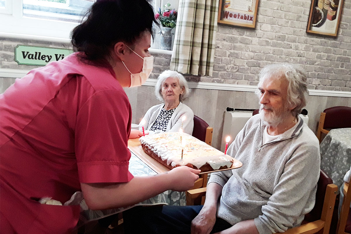 Birthday wishes to John at The Old Downs Residential Care Home