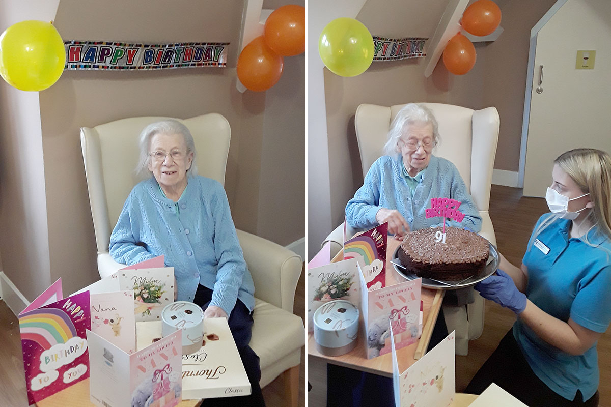 Cake and cards for Gwen at The Old Downs Residential Care Home