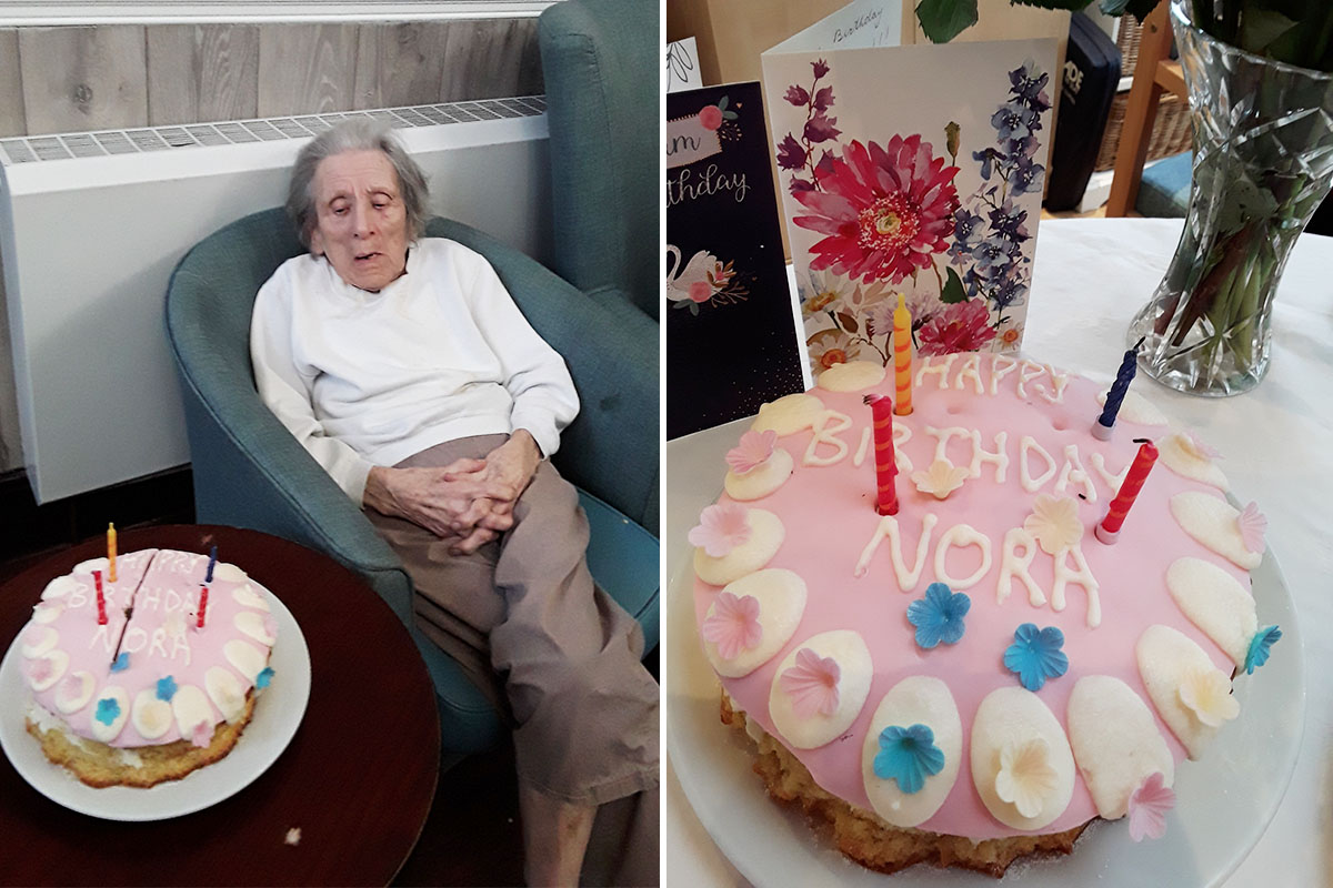 Birthday celebrations for Norah at The Old Downs Residential Care Home