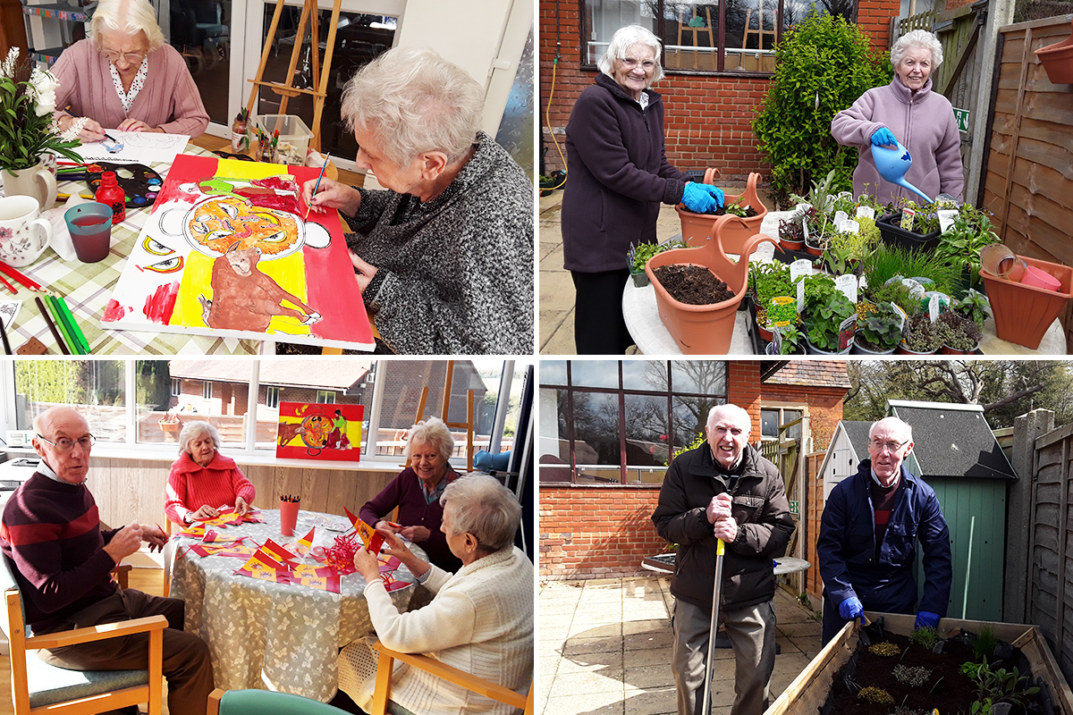 Spanish crafts and gardening at The Old Downs Residential Care Home