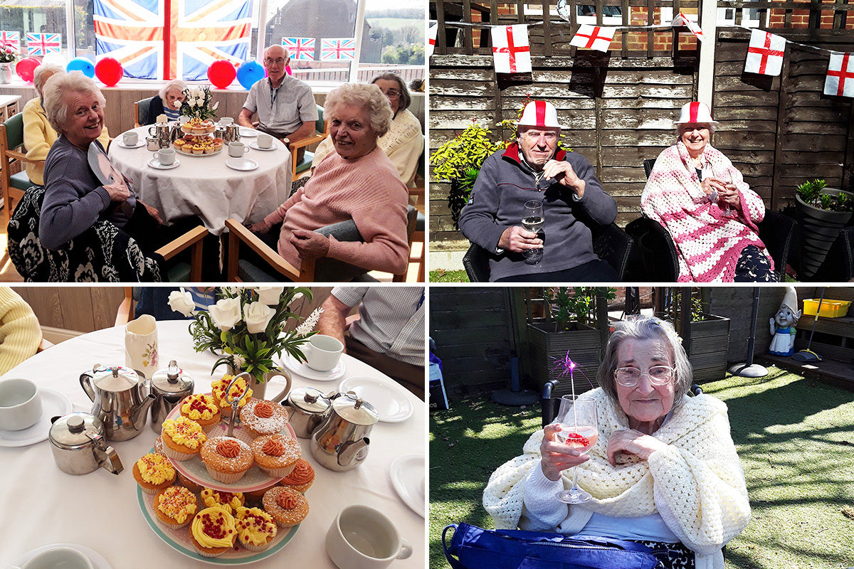Toasting the Queen and St George at The Old Downs Residential Care Home