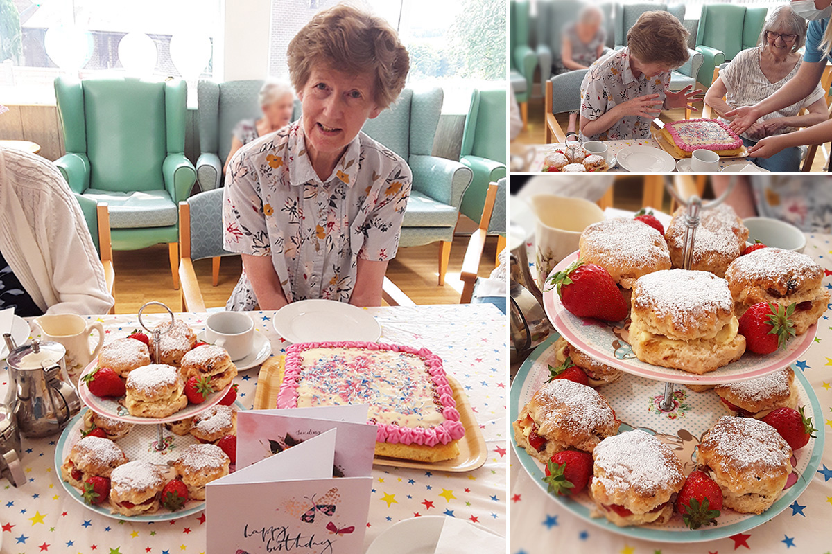 Birthday tea party for Elaine at The Old Downs Residential Care Home