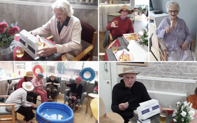 Celebrating fish and chips at The Old Downs Residential Care Home