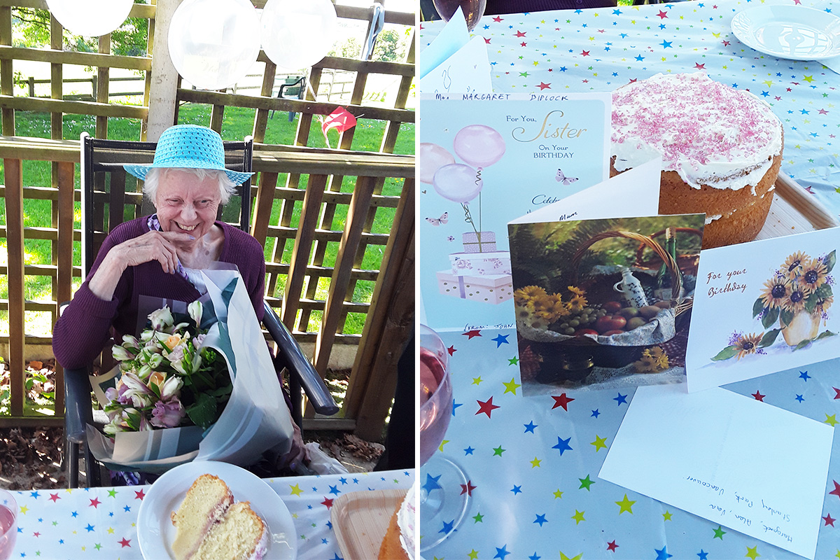 Birthday celebrations for Margaret at The Old Downs Residential Care Home