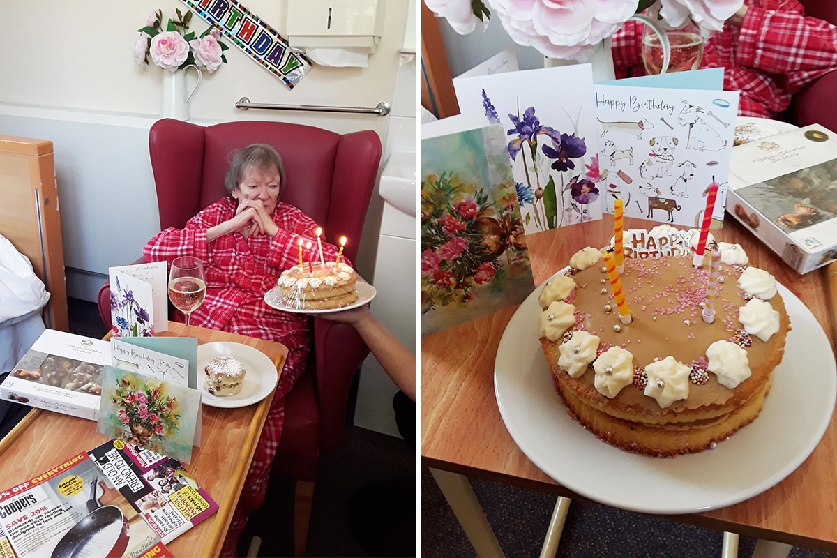 Birthday celebrations for Anne at The Old Downs Residential Care Home