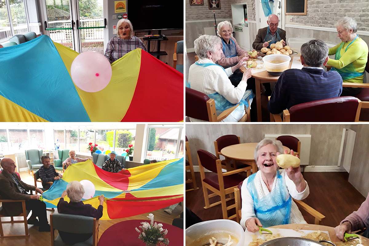 Parachute fun and helping hands at The Old Downs Residential Care Home