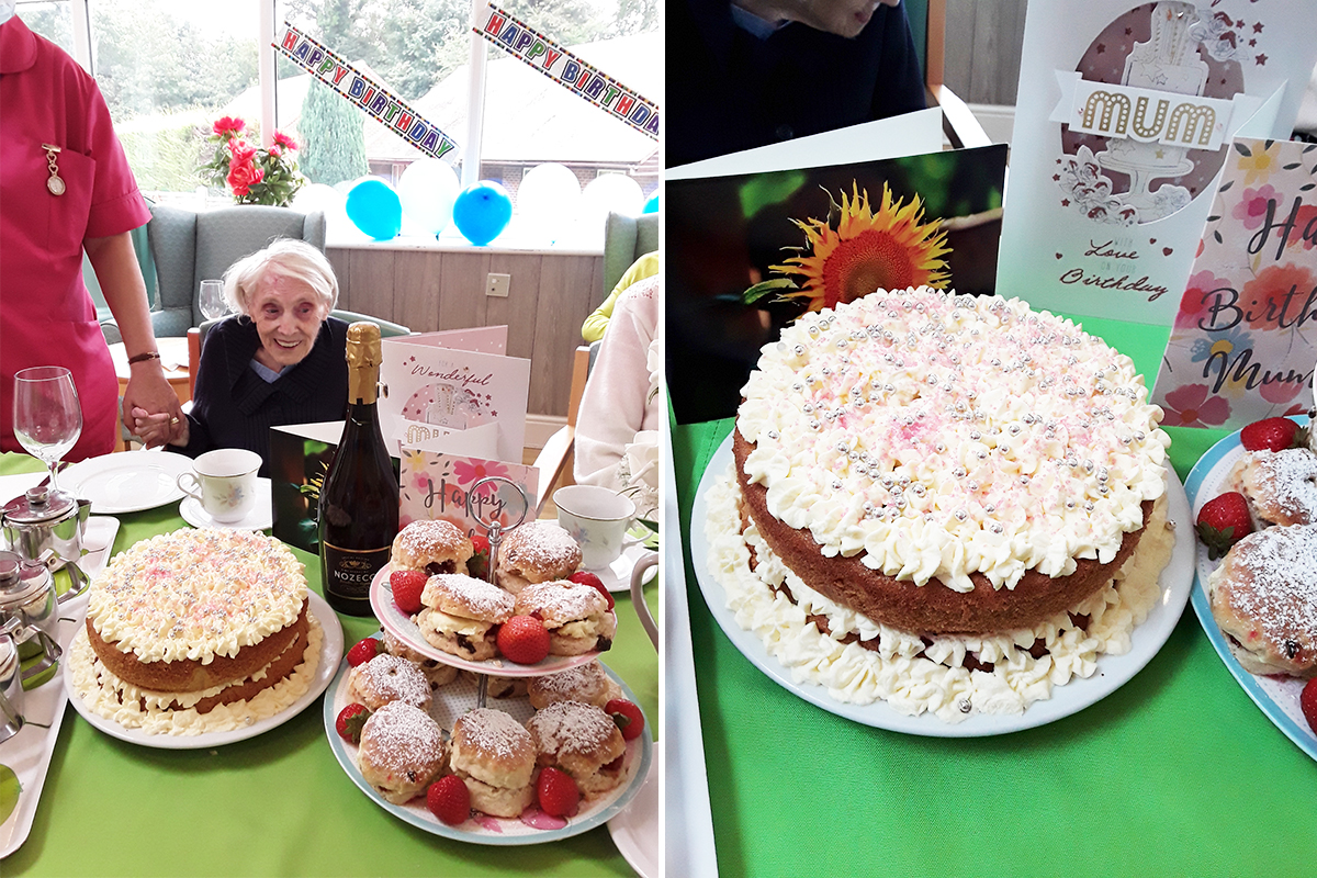 Mary enjoys a birthday tea at The Old Downs Residential Care Home